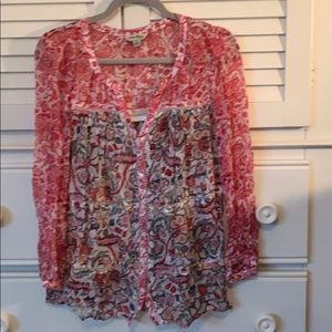 Beautiful pheasant style mixed print top